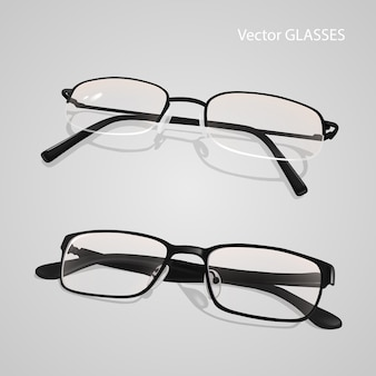 Realistic metal and plastic framed glasses set.  glasses isolated on gray background