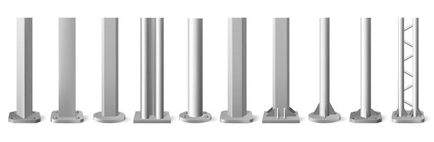 リアルなメタルポール。シルバーメタルの垂直柱、光沢のあるアルミニウム製の建設用ポール Premiumベクター