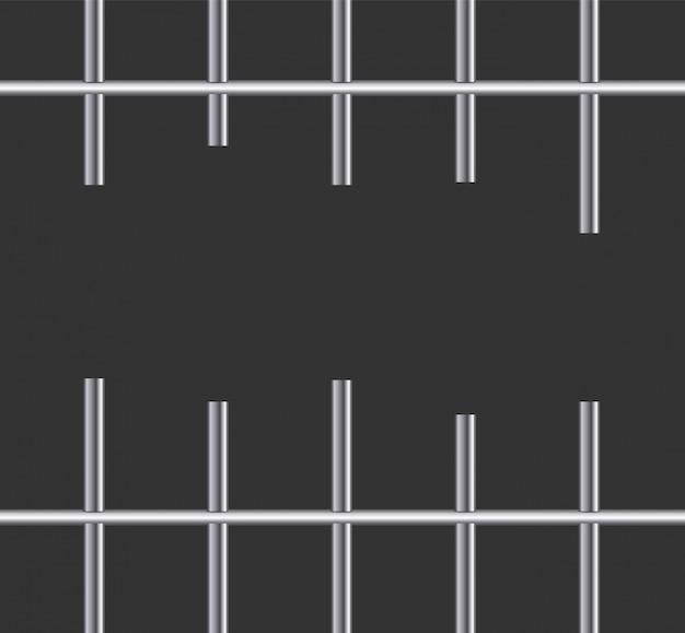 Realistic metal prison grilles. iron prison cell.