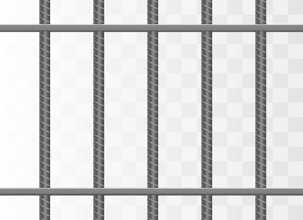 Realistic metal prison grilles. prison cell.