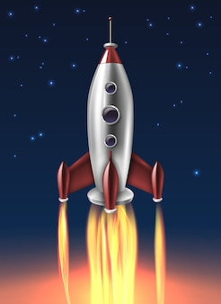 Realistic metal rocket launch background poster