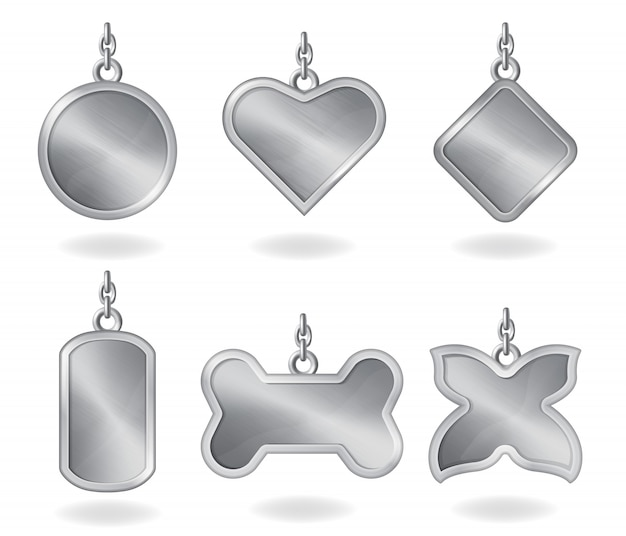 Realistic metal silver tags different shapes