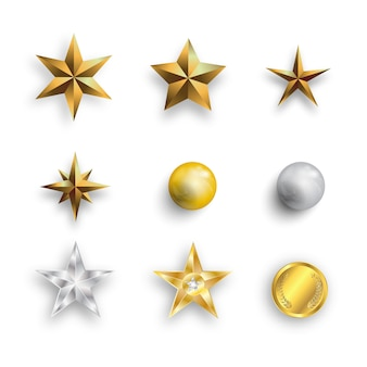 Realistic metall golden stars, pearls and golden coins