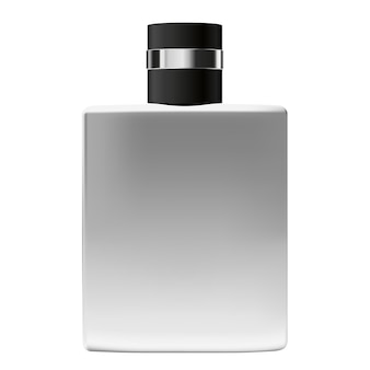 白い背景セクターに分離された香水用の黒いキャップと現実的な金属ボトル