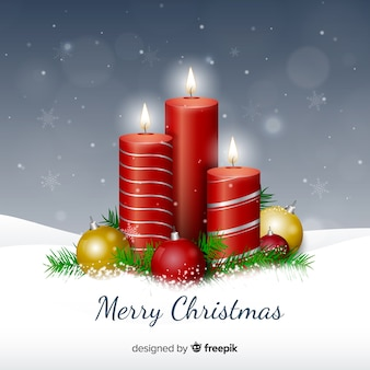 Realistic metallic candles christmas background