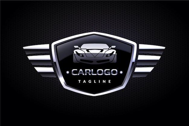 Realistic metallic car logo design