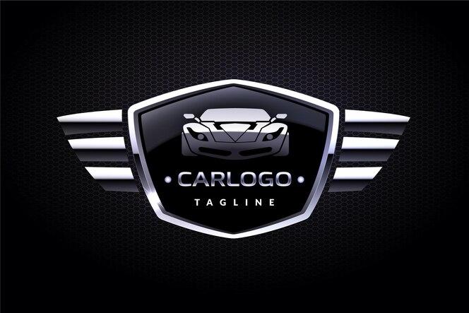 Реалистичный металлический дизайн логотипа автомобиля