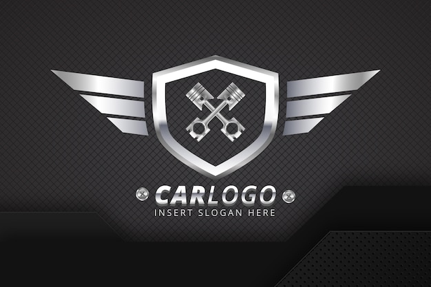 Realistic metallic car logo template