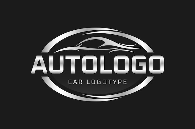 Realistic metallic car logo