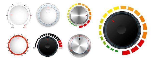 Realistic metallic control knob realistic Premium Vector