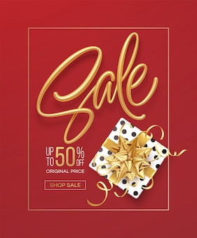 Realistic metallic gold inscription sale on the background with a gift box and a golden bow.
