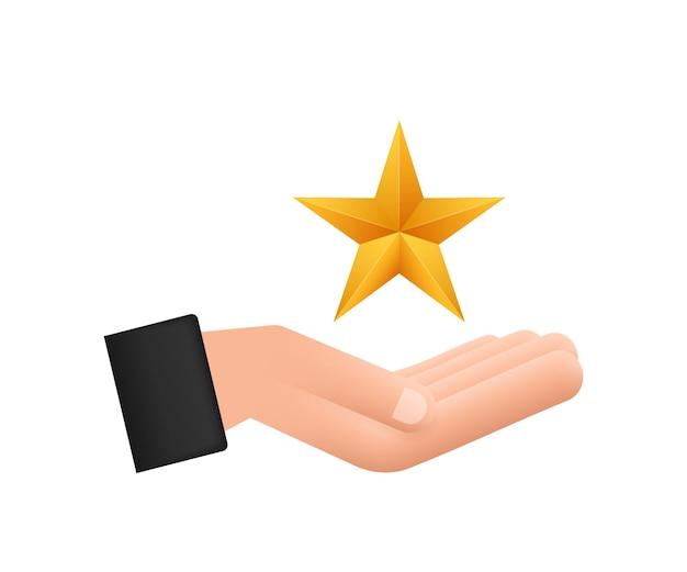 白い背景の上の手のパターンの上の現実的な金属の金色の星。ベクトルストックイラスト。