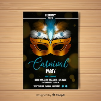 Realistic metallic mask carnival party poster