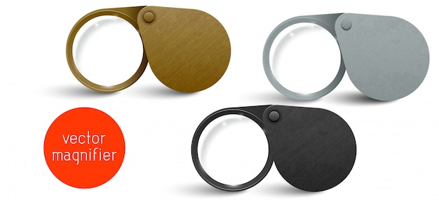 Realistic metallic modern folding magnifier set. vector magnifying glass lens.