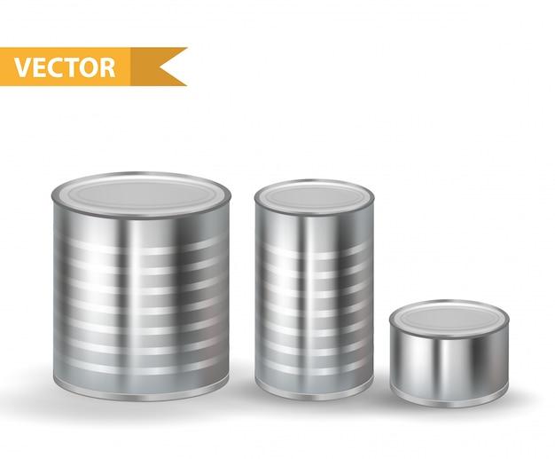 リアルなメタリックブリキ缶セット。缶コンテナコレクション。白い背景の上。あなたの製品の缶詰食品を梱包するため。図。