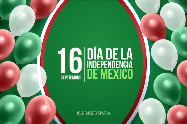 Realistic mexic independence day background Premium Vector