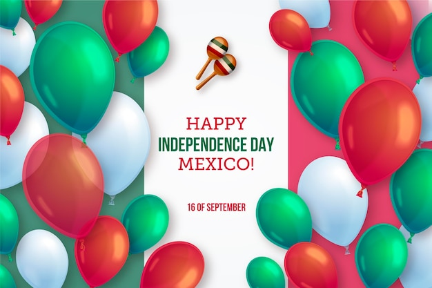 Realistic mexico independence day balloon background