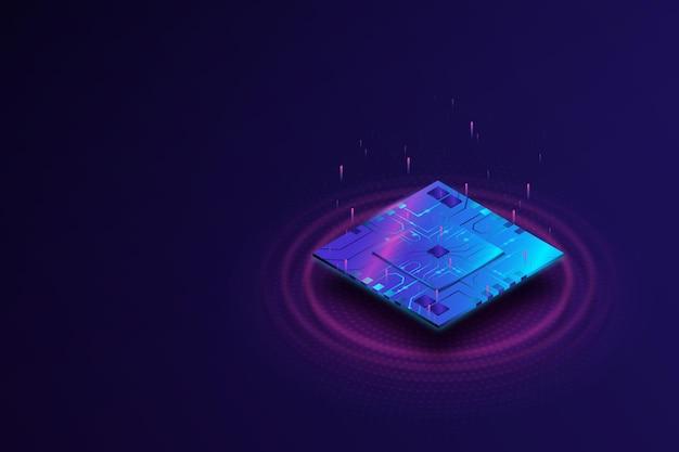 Реалистичный фон процессора микрочипа Premium векторы