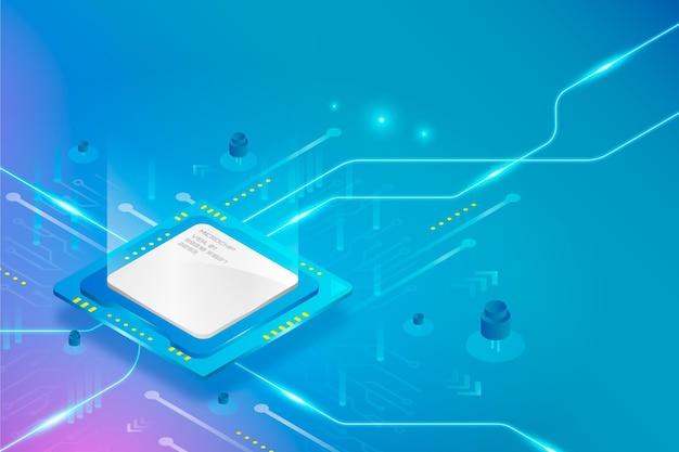 Реалистичный фон процессора микрочипа