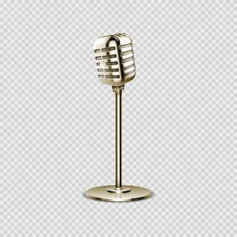 현실적인 마이크. 스튜디오 또는 라디오, 노래방 또는 방송용 빈티지 음성 장치. 스탠드 벡터 일러스트 레이 션에 골드 스틸 절연 마이크입니다. 음악 스튜디오 및 녹음 음악 방송