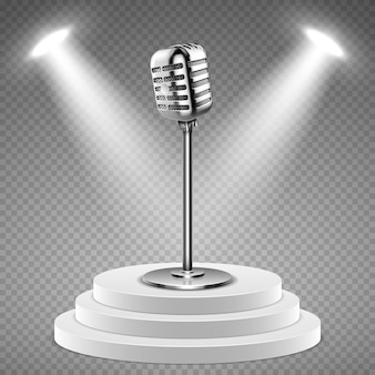 Realistic microphone. white podium for stage and 3d mic. sound studio equipment, concert or radio vector element. radio studio with stage and mic illustration
