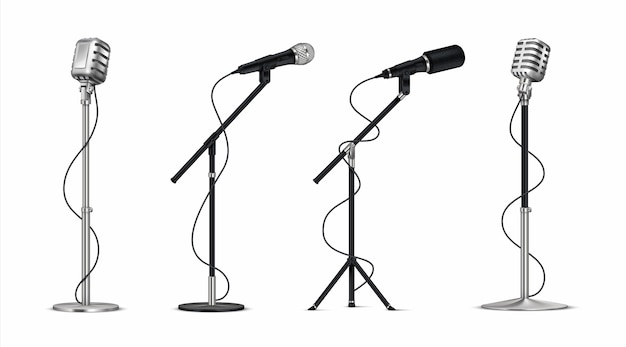 Realistic microphones illustration