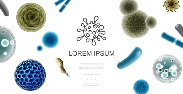 다채로운 박테리아 세균과 다른 모양 그림의 바이러스와 현실적인 미세 유기체 개념