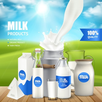 Realistic milk containers on table poser