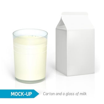 Realistic milk glass and white cardboard package for dairy products, juice or milk.