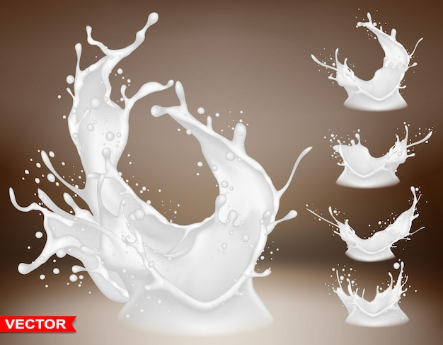 Realistic milk splash bursts and crown