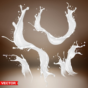 Realistic milk splash bursts and wave