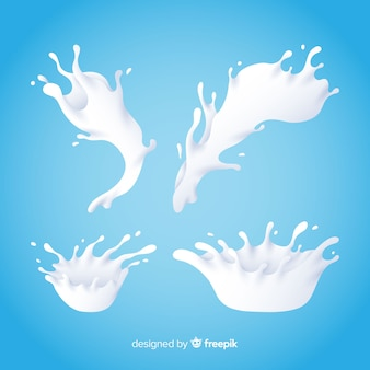 Realistic milk splash collection