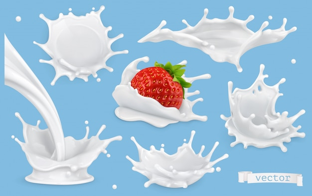 Realistic milk splashes