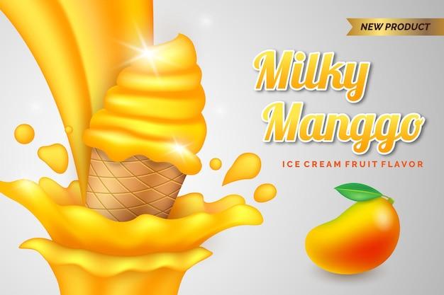 Gelato al mango al latte realistico