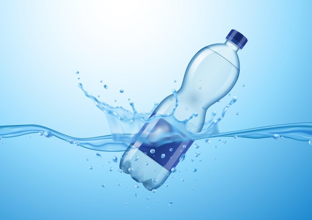 Realistic mineral water composition with drifting plastic water bottle with water drops and splash