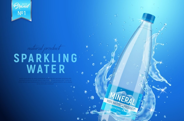 Realistic mineral water poster with water spray and branded bottle packaging with editable text