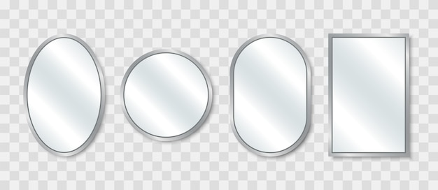 Realistic mirror set. reflecting glass mirrors of different shapes. mirrored frames.  illustration.