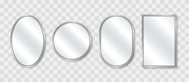 リアルなミラーセット。さまざまな形状の反射ガラスミラー。ミラーリングされたフレーム。図。