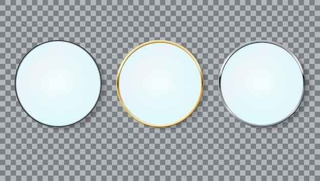Realistic mirrors circle frame set of different colors isolated.