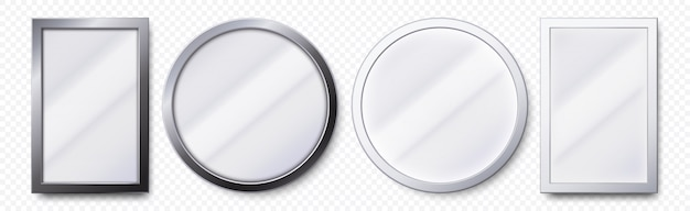 Realistic mirrors. metal round and rectangular mirror frame, white mirrors template   set