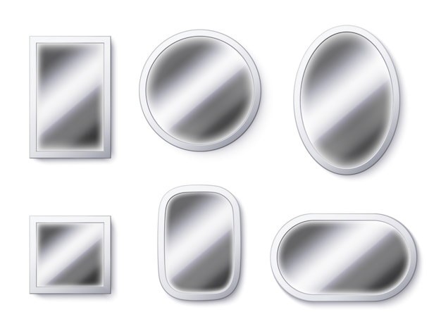Realistic mirrors surfaces. mirror frame, reflective surface and mirroring glass    illustration