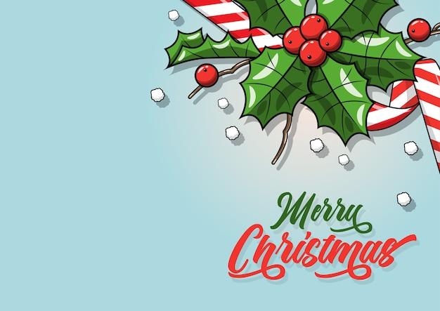 ベリーとリアルなヤドリギの葉-水色の背景に孤立したイラスト。クリスマス、年末年始の装飾オブジェクト
