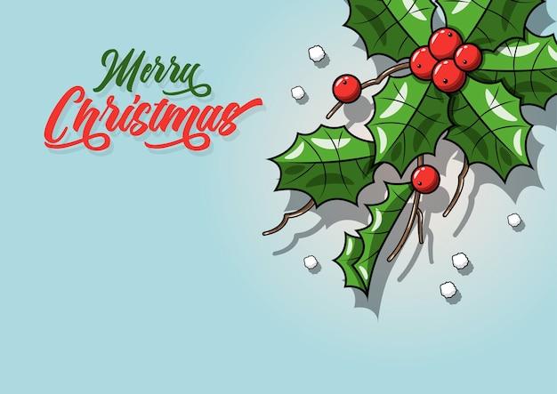 Реалистичные листья омелы с ягодами - изолированные на голубом фоне. рождество, новогодний праздник украшение объекта