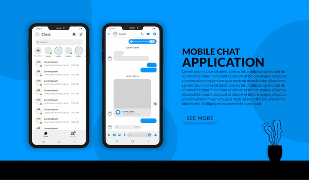 現実的なモバイルチャットアプリケーション、ソーシャルメディア投稿用のuiキットメッセンジャーテンプレート