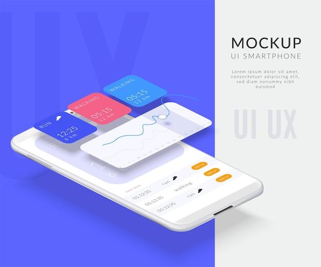 앱이있는 스마트 폰 이미지와 분리 된 화면으로 사실적인 휴대폰 분해 인터페이스 구성
