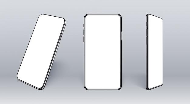 다른 각도에서 현실적인 휴대 전화입니다. 얇은 프레임과 빈 화면이있는 스마트 장치 컬렉션