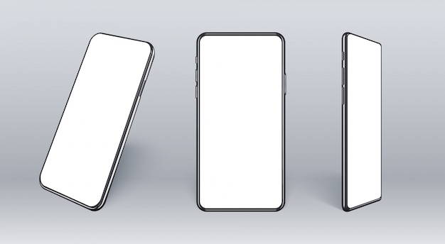 Realistic mobile phone from different angles. smart device collection with thin frame and blank screen