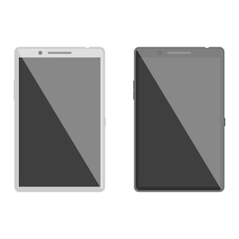 Realistic mobile phone glossy black and white