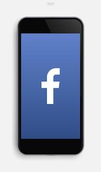 ディスプレイ画面の背景にアプリケーション画像を備えたリアルな携帯電話。ベクトルイラスト。
