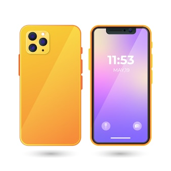 Реалистичный мобильный телефон с градиентом